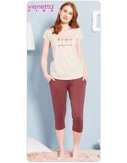 Комплект футболка капри PINK - фото 5550