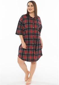 Платье-рубашка с коротким рукавом большого размера