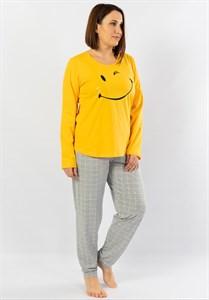 Пижама с длинным рукавом женская большого размера